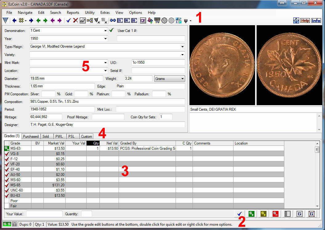 Canadian Coin Inventory Software